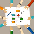 Flow chart process decision making team work on paper looking into business concept of planning hands pointing