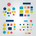Flowcharts. Set of 6 flow charts schemes, diagrams.