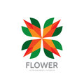 Flower - abstract vector logo template - concept sign. Four colored shapes. Color geometric sign. Star symbol. Design elements Royalty Free Stock Photo