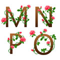 Flower alphabet with red roses