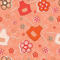 Flower apron cute seamless background Stock Photography