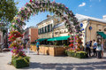 Flower arch on reconstructed Klimentovsky lane in Moscow