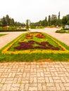 Flower arrangement beautiful in herastrau park in bucharest romania Royalty Free Stock Images