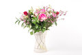 Flower arrangement a beautiful in a vase set on a white islolated background Royalty Free Stock Photos