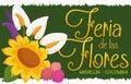 Flower Arrangement over Grass Banner for Colombian Flowers Festival, Vector Illustration