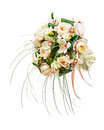 Flower arrangement of peon flowers and orchids isolated on white background closeup Stock Photos