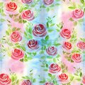 Flower arrangement of roses on a watercolor background. Roses. Seamless background. Collage of flowers and leaves.