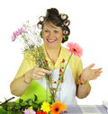 Flower Arranging Housewife Royalty Free Stock Photo