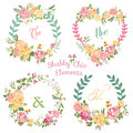 Flower banners and tags for your design scrapbook in vector Royalty Free Stock Images