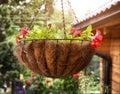 Flower basket hang close up photo Royalty Free Stock Photo
