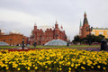 Flower bed in kremlin Royalty Free Stock Photography