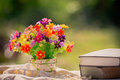 Flower And Book At Nature