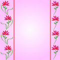 Flower Borders on Pink Gradient Background Stock Image