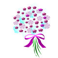 Flower bouquet with bow Royalty Free Stock Images