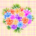 Flower bouquet on check background Royalty Free Stock Image