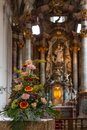 flower bouquet in church altar Royalty Free Stock Photo