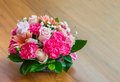 Flower bouquet close up beautiful on wooden table Stock Photography