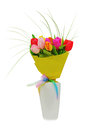 Flower bouquet from colorful tulips in white vase Royalty Free Stock Image