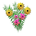 Flower bouquet with ferns yellow and pink illustration Stock Image
