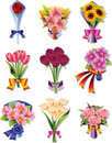 Flower bouquet icons Royalty Free Stock Photo