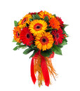 Flower bouquet of red and orange gerberas Royalty Free Stock Photo