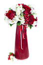 Flower bouquet in red vase Royalty Free Stock Photos