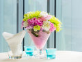 Flower bouquet on table close up beautiful decoration cocktail Stock Photos