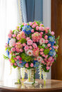 Flower bouquet on table close up elegance wood Royalty Free Stock Photography
