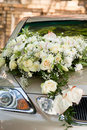 Flower bouquet on wedding car Royalty Free Stock Photos