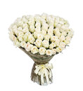 Flower bouquet of 100 white roses Royalty Free Stock Photo