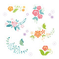 Flower bouquets seamless floral background greeting card design Stock Photo
