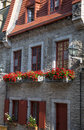 Flower boxes street scene of old quebec city is full work charm with its upper and lower towns full ornate stone and brick Royalty Free Stock Image