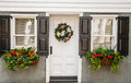 Flower Boxes and Wreath on Nice Small Home Royalty Free Stock Photography