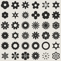 Flower bud shapes black and white abstract set set Stock Photos