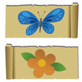 Flower and butterfly abstract on special papyrus background Royalty Free Stock Photography