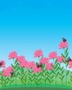 Flower butterfly sky landscape Royalty Free Stock Photo