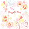 Flower card birthday Royalty Free Stock Photos
