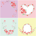 Flower card design pink rose and heart Stock Photography