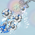 Flower card metal on blue background Royalty Free Stock Images