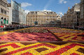 Flower carpet in grand place of brussels against blue sky festival on august belgium this biannual event takes at the this year Royalty Free Stock Photo