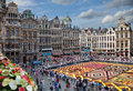 Flower carpet in grand place of brussels festival on august belgium this biannual event takes at the this year design the Royalty Free Stock Image