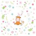 flower and cartoon animal greeting card