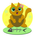 Flower Cat Loves Fish Royalty Free Stock Photos