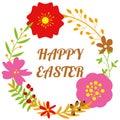 Flower celebration body frame of happy easter holiday sign