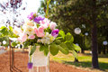 Flower center piece at wedding reception decor with pieces on tables Stock Photo