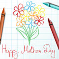 Flower children drawing for mothers day with crayon and sketch Stock Images