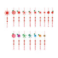 Flower Chinese effect hang red color set Royalty Free Stock Photo