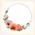 Flower circle round wreath coronet of pink peach poppy leaves be