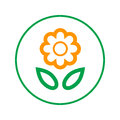 Flower circular line icon. Round sign. Flat style vector symbol.