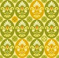 Flower color pattern ovals and circles on light yellow background green orange with yellow decorative flowers seamless background Royalty Free Stock Images